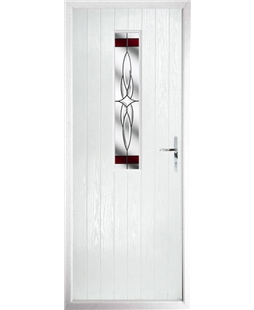 The Sheffield Composite Door in White with Red Crystal Harmony