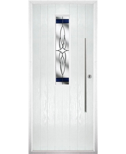 The York Composite Door in White with Blue Crystal Harmony