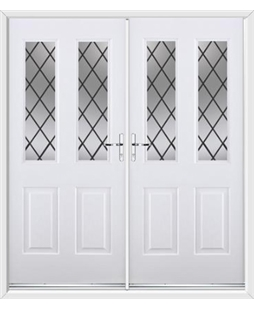 Jacobean French Rockdoor in White with Diamond Lead