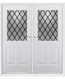 Windsor French Rockdoor in White with Diamond Lead