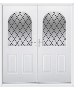 Kentucky French Rockdoor in White with Diamond Lead