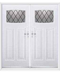 Newark French Rockdoor in White with Diamond Lead
