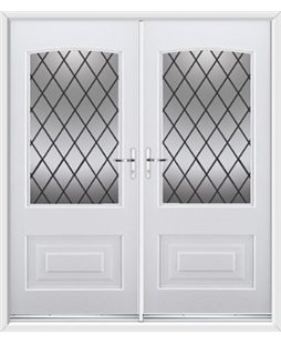 Portland French Rockdoor in White with Diamond Lead