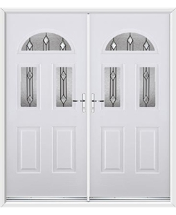 Tennessee French Rockdoor in White with Dorado Glazing