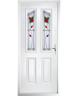 The Birmingham Composite Door in White with English Rose