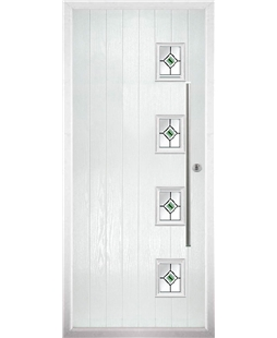 The Norwich Composite Door in White with Green Fusion Ellipse