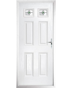 The Ipswich Composite Door in White with Green Fusion Ellipse