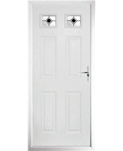 The Ipswich Composite Door in White with Black Fusion Ellipse