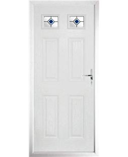 The Ipswich Composite Door in White with Blue Fusion Ellipse