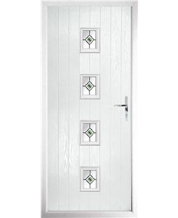The Uttoxeter Composite Door in White with Green Fusion Ellipse