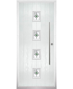 The Leicester Composite Door in White with Green Fusion Ellipse