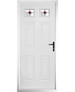 The Ipswich Composite Door in White with Red Fusion Ellipse