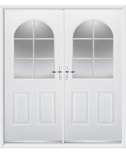 Kentucky French Rockdoor in White with White Georgian Bar