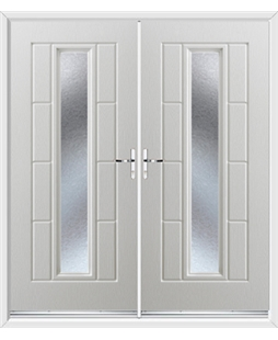Vermont French Rockdoor in White with Gluechip Glazing