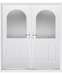 Kentucky French Rockdoor in White with Gluechip Glazing