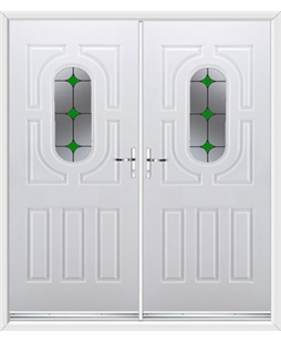 Arcacia French Rockdoor in White with Green Diamonds