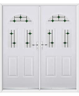 Tennessee French Rockdoor in White with Green Diamonds