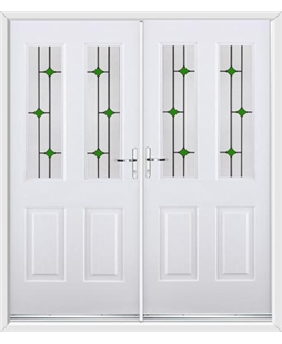Jacobean French Rockdoor in White with Green Diamonds
