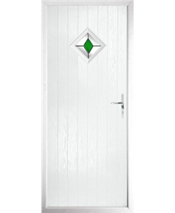 The Reading Composite Door in White with Green Diamond