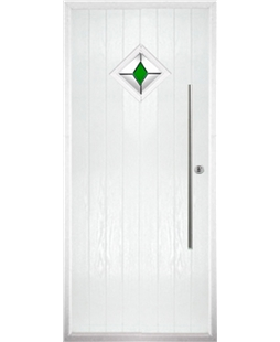 The Wolverhampton Composite Door in White with Green Diamond