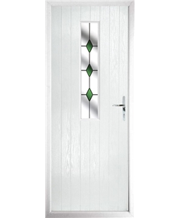 The Sheffield Composite Door in White with Green Diamonds