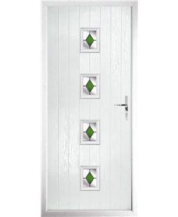 The Uttoxeter Composite Door in White with Green Diamonds