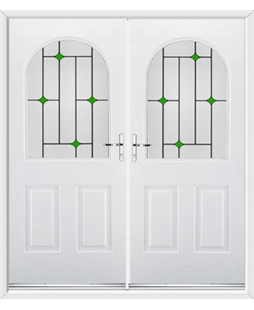 Kentucky French Rockdoor in White with Green Diamonds