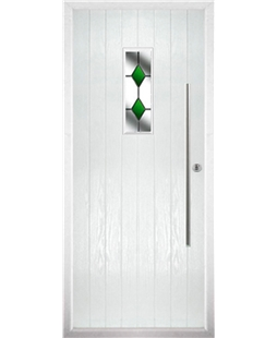 The Zetland Composite Door in White with Green Diamonds