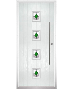 The Leicester Composite Door in White with Green Diamonds