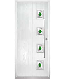 The Norwich Composite Door in White with Green Diamonds