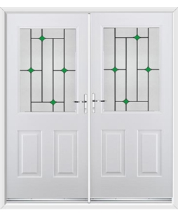 Windsor French Rockdoor in White with Green Diamonds