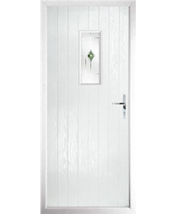 The Taunton Composite Door in White with Green Murano
