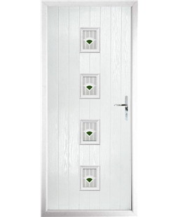 The Uttoxeter Composite Door in White with Green Murano