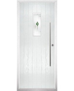 The Zetland Composite Door in White with Green Murano