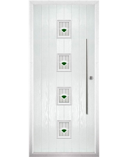 The Leicester Composite Door in White with Green Murano