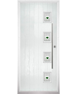 The Norwich Composite Door in White with Green Murano