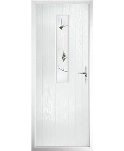 The Sheffield Composite Door in White with Green Murano