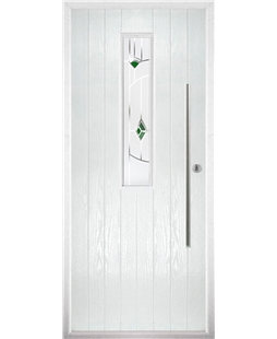 The York Composite Door in White with Green Murano