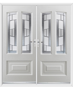 Illinois French Rockdoor in White with Inspire