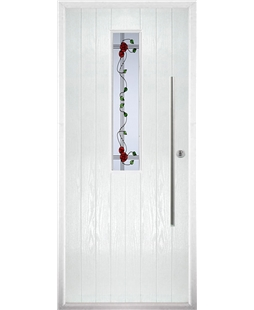 The York Composite Door in White with Mackintosh Rose