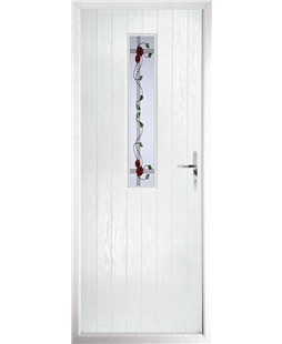 The Sheffield Composite Door in White with Mackintosh Rose