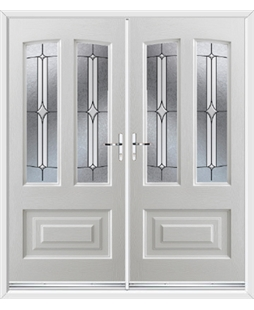Illinois French Rockdoor in White with Pinnacle