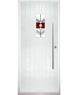 The Zetland Composite Door in White with Red Crystal Bohemia
