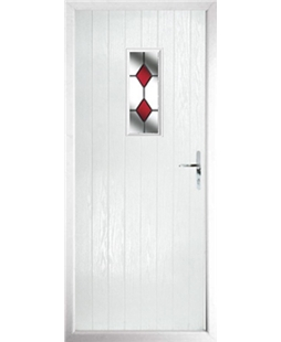 The Taunton Composite Door in White with Red Diamonds