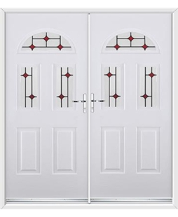 Tennessee French Rockdoor in White with Red Diamonds