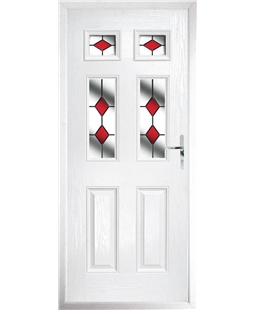 The Oxford Composite Door in White with Red Diamonds