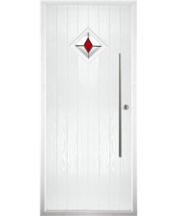 The Wolverhampton Composite Door in White with Red Diamond