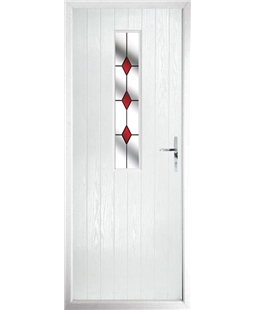 The Sheffield Composite Door in White with Red Diamonds