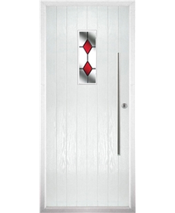The Zetland Composite Door in White with Red Diamonds