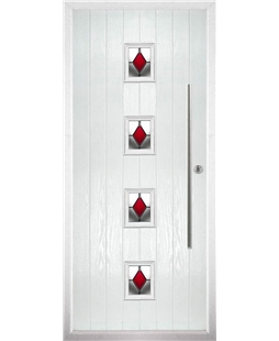 The Leicester Composite Door in White with Red Diamonds